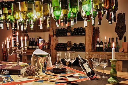 Cooking lounge in the wine cellar at the Parkhotel at Soier See